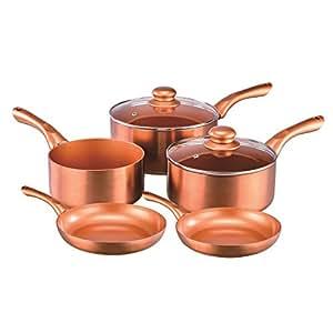 Cermalon 7pc Copper Ceramic 100 Non Stick Saucepan Set