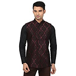 QDesigns Mens Nehru Jacket (WJ_01_Black & Maroon_36)