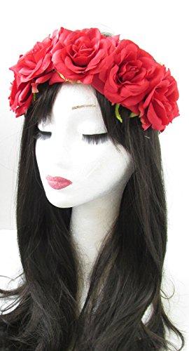Grande fleur rose rouge cheveux Bandeau Couronne Guirlande Boho festival W02 * * * * * * * * style vintage Motif feuille exclusivement vendu par – Beauté * * * * * * * *