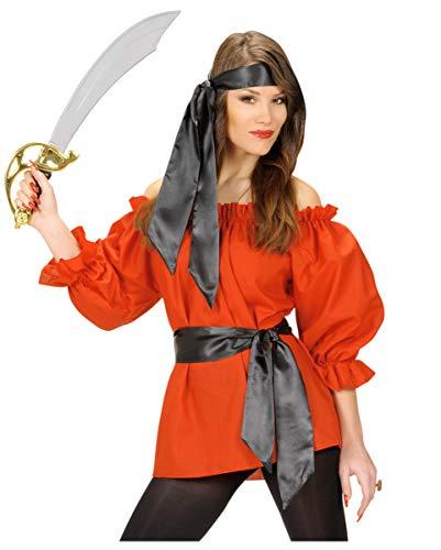 Horror-Shop Red Piratenbluse im Steampunk Look - Kostümzubehör XL (Match Cowgirl Kostüm)