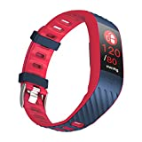 RUHRBASIS Smart Watch Smart-Band P4 Sport - Fitness Armbanduhr mit Pulsmesser Schrittzähler Activity Watch Tracker App + Anruf Benachrichtigung - Dunkelblau |Navy Blau | Rot
