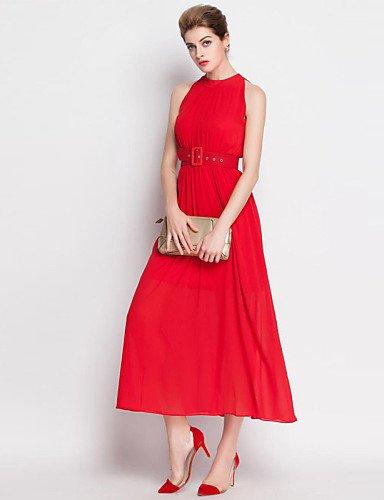 PU&PU Robe Aux femmes Trapèze / Mousseline de Soie Simple / Street Chic,Couleur Pleine Mao Midi Coton / Polyester RED-M
