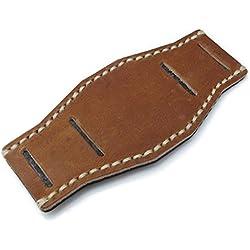 Saddle Brown Leather BUND Pad for 20mm watch straps, Beige Wax Stitching, XL