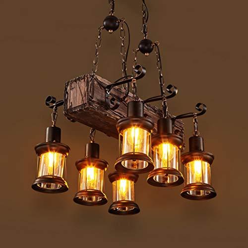 Holz Retro Deckenleuchte Vintage Deckenlampe E27 Antik Industry Holz Kreative Deckenstrahler Eisen Lampeschirm Deckenbeleuchtung für Loft BarWohnzimmer Bar Cafe Dekoration 6 Heads (Keine Leuchtmittel)