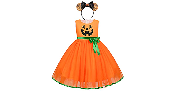 FYMNSI Baby Girl Toddler Kids Halloween Costume Dress Ghost Pumpkin A-line Tulle Princess Dress Carnival Party Cosplay Fancy Dress Up for 6 Months 6 Years