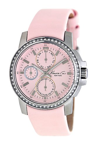 Kenneth Cole Men's 34mm Pink Calfskin Band Steel Case Quartz Chronograph Watch KC2696