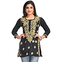 ADA Hand Embroidered Lucknow Chikan Regular Fit Cotton Short Top (A250295_Black) (XXXXX-Large)