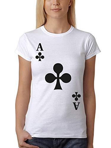 clothinx Damen T-Shirt Unisex Karneval & Fasching Dead Mans Hand Gruppen-Kostüm Weiß/Kreuz Ass Größe - Dead Punk Kostüm