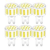 YWX G9 Bombilla LED,Regulable Blanco Natural 4000k G9 5W Equivalente 40W Halógena 500lm Lámpara LED Sin Parpadeo 360°ángulo de Haz AC 220-240V Pack de 6