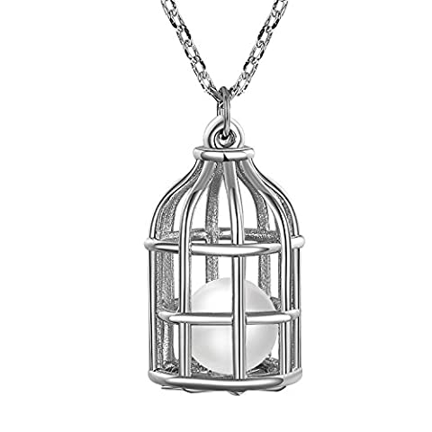 Fancilla Fashion Jewellery White Gold Plated Silver Birdcage Pendant Necklace with a Simulated Pearl Housing Inside, 18''