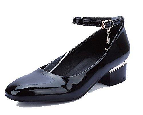Voguezone009 Hebilla De Mujer Shimmer Cerrada Quedrata De Tacón Bajo Pure Pure Black