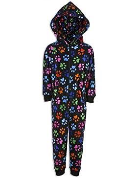 Kinder Unisex-Schlafoverall - Schwarz mit bunten Pfotenabdrücken
