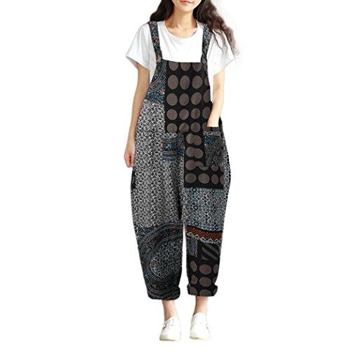Kobay Women Playsuit Pants, Floral Print Bohe Loose Bib Pants Dungarees Overalls Jumpsuit