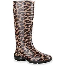 Damen Leoparden-Print, Gummistiefel Braun braun 4