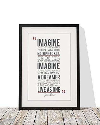 John Lennon Imagine Songtext, gerahmt, A4Druck glasiert und 12x 10Rahmen mit Passepartout Geschenk Valentinstag Weihnachten Jahrestag Hochzeit First Dance Design 2 Black Frame With White Mount