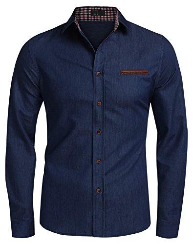 Coofandy Men's Casual Dress Shirt Button Down Shirts Small Dark Blue