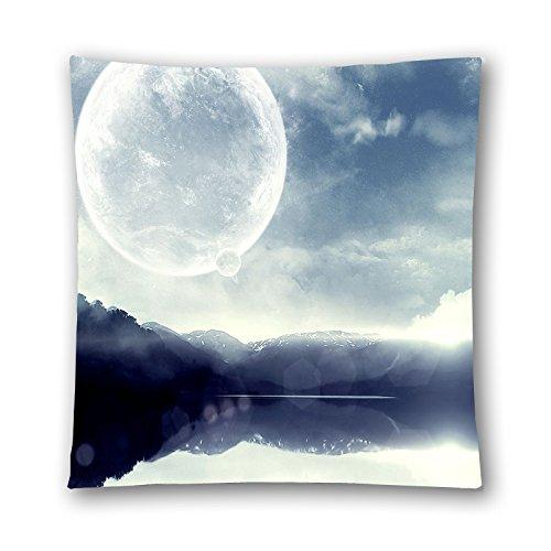 shyfgkjy la lune brille sur l'eau coton couvre-lit décoratif taie d'oreiller housse de coussin 45,7 x 45,7 cm un côté