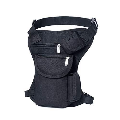 HWZ Tactical Molle Mens Drop Leg Bag Retro Canvas Sports Racing Tactical Leg Bag Durable Outdoor Waist Bag Sports Fanny Thigh Pack Practical Tactics Waist Pouch (Black) -