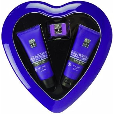Treets Cuidado del Cuerpo Gift Set loción corporal de lavanda corazón, gel de ducha y baño cubos, 1er Pack (1 x 140