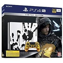Sony PlayStation 4 Pro 1 To Édition spéciale Death Stranding limitée, Avec le jeu inclus + 1 Manette Sans Fil Dualshock 4 V2 personnalisée, Châssis G, Blanche/Motifs mains noires, Art : 9326502