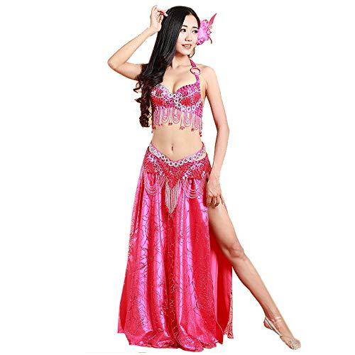 Rave Kostüm Fairy - LULUVicky-WMDress Bauchtanz Kostüm Bauchtanz Kostüm Set Perlen Performance Bühne for Rave Cabaret Party 2tlg Chiffon Fairy ausgefallenen Rock (Farbe : Rosa, Größe : S)