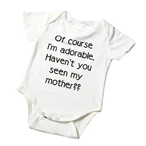 LuckyGirls Neugeborenen Kleinkind Jungen Mädchen Brief Kurzarm Strampler Overall Pyjamas Spielanzug 0-18 Mt (3M, Weiß)