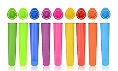 Idea Regalo - iNeibo stampo ghiaccioli in silicone riutilizzabili set da 10 pezzi con coperchi/cubetti di ghiaccio fanno lo stampo di popsicle