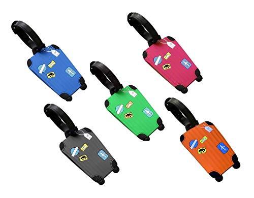 Bagages Etiquettes, Fontee 5pcs Étiquettes de bagage de silicone Étiquettes de bagage d'avion Adresse de voyage Sac à main Étiquette Valise de voyage ID Nom-Rectangle Identifiant Étiquette