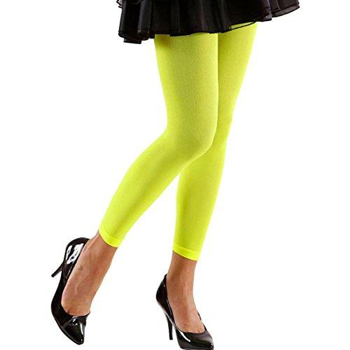 NET TOYS 80er Jahre Leggins 70 DEN Damen Strumpfhosen neon grün Stretchhose Leggings Legging Hose Aerobic