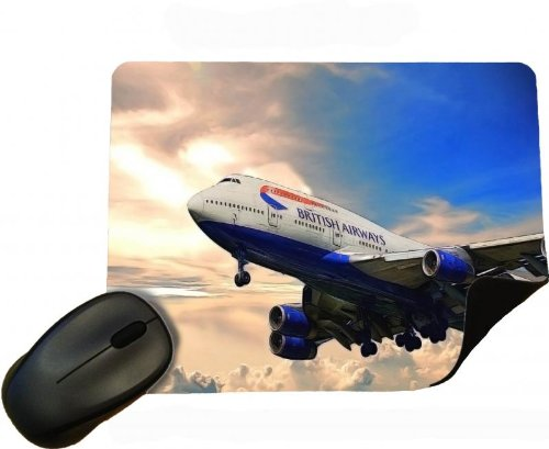 Aviation Boeing 747 British Airways Jumbo Jet - Mouse Mat / Pad - By Eclipse Gift Ideas