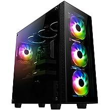 anidees AI-Crystal-PM Steel / gehärtetes Glas ATX, PC Gaming Gehäuse E-ATX , 4 RGB Lüfter - schwarz RGB