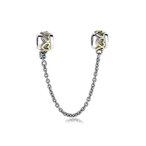 Mijn bedels catena di sicurezza charm in argento con i cuori color oro