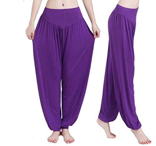 Hippolo Femmes Yoga doux Harem Pilates Lounge Pants Leggings (XXL, Noir) Pourpre