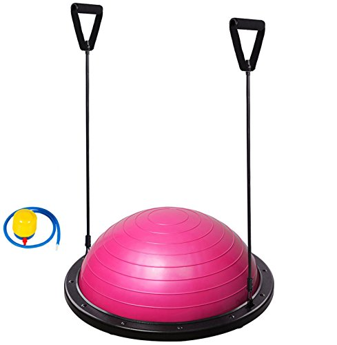 BALL BALANCE BOARD WOBBLE YOGA TRAINING FITNESS HALF GYM BALL PILATES STEPS (Pink)