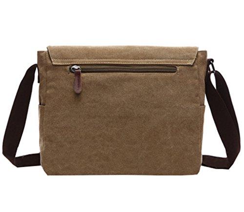 Super Modern Vintage-Canvas-Schultertasche, leger, College-Bag, Laptop-Tasche (für 14 Zoll / 35,6cm), Schultasche aus Segeltuch/Canvas, Aktentasche, Umhängetasche coffee