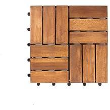Vanage - Tarima de madera, set de 9, madera de acacia, aprox. 30 x 30 x 2,4 cm, Edge