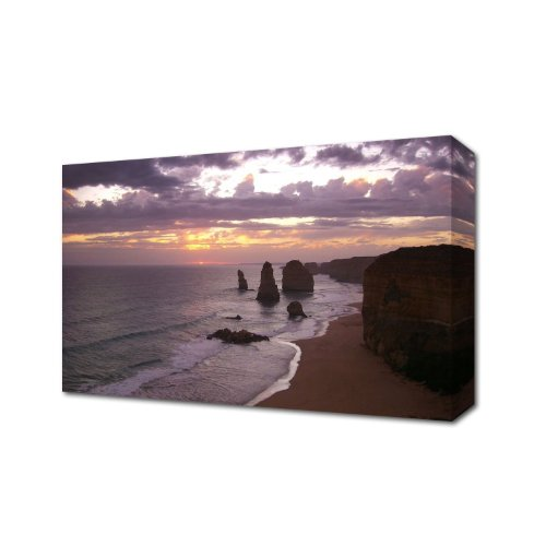 TWELVE APOSTLES SUNSET AUSTRALIA CANVAS ART PRINT BOX CANVAS READY TO HANG LANDSCAPE 48 inch x 30 inch B/W