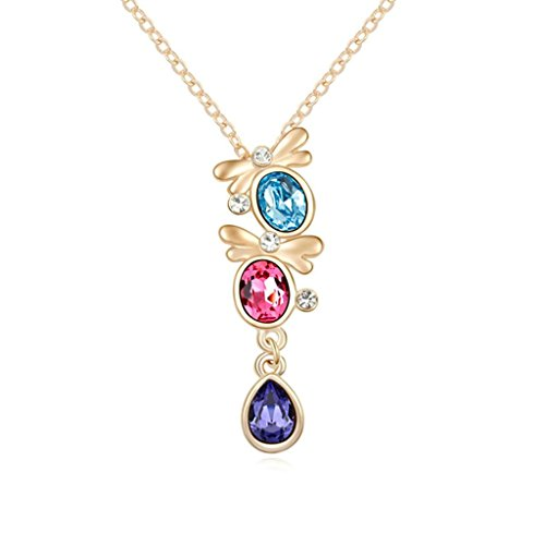 Daesar Schmuck Damenkette Vergoldet Schmetterling Träne Halskette Zirkonia Strass Anhänger Halskette