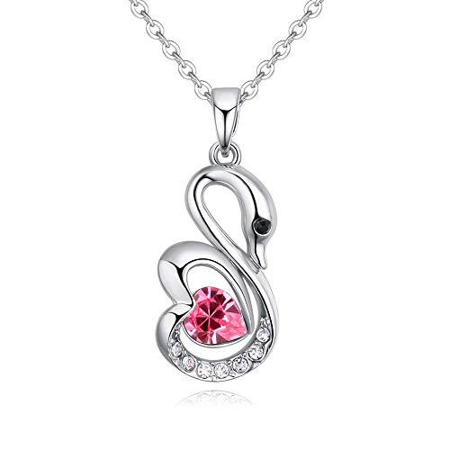 NSXLSCL Damenhalskette Vintage Design Swan Form Rose Rot Kristall Halskette, Für'S Freundin Geschenk Rose Swan
