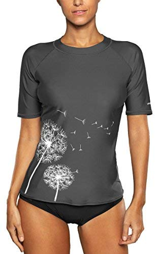 Attraco Damen Badeanzug Rash Guard UV Schutz Shirts Kurzarm Surf Shirt UPF 50+ Grau S