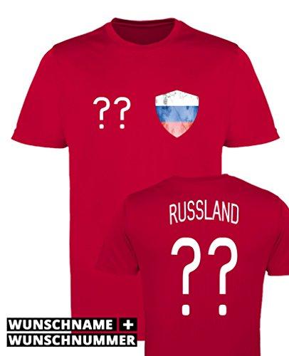 Comedy Shirts - Russland Trikot - Wappen: Klein - Wunsch - Herren Trikot - Rot/Weiss Gr. M