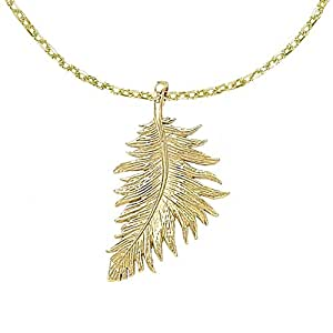 Dower & Hall Feather 18ct Yellow Gold Plated on Sterling Silver Pendant on 46cm Trace Chain