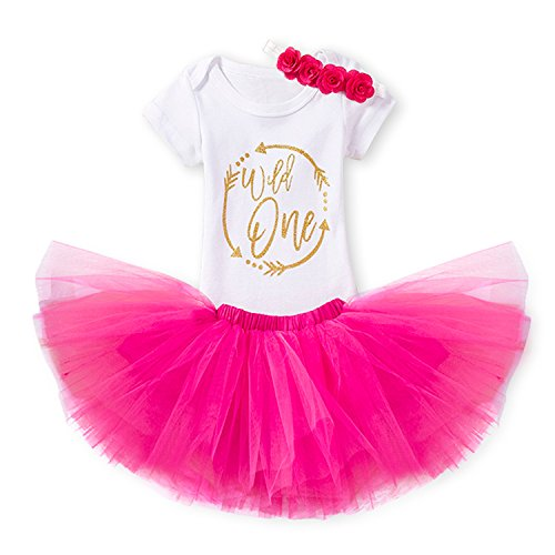 NNJXD Mädchen Newborn 1. Geburtstag 4 Stück Outfits Strampler + Tutu Kleid + Stirnband Größe (1) 1 Jahre Rosa