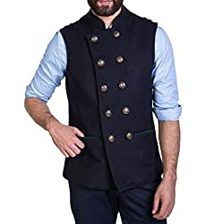 Mr Buttons Mens Slim Fit Nehru Jacket 05NHJ007-M_Blue_Medium