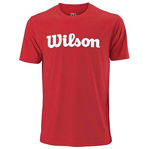 WILSON M Uwii Script T-Shirt Tech, Herren, Rot (Red/White) -