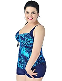 Niseng Mujer Trajes De Baño Una Pieza Grande Talla Bañadores Conjuntos De Falda Y Pantalones Cortos