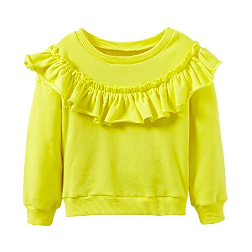 Baby Sweatshirt Btruely Lange Hülse Bluse Mädchen Pullover Warm Mantel (Gelb, 104) (Girls Pullover Freunde)