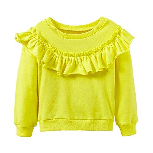 ely Lange Hülse Bluse Mädchen Pullover Warm Mantel (Gelb, 98) (Baby-dusche-kits)
