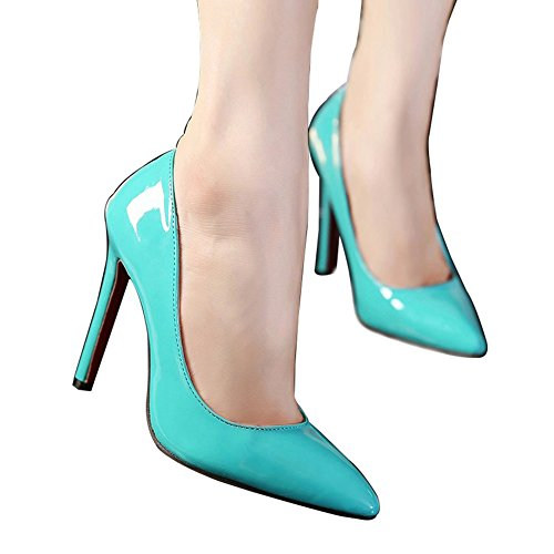 St. Roma pour femme Candy Sweet haute Stiletto Slip on PU pompes Chaussures Bleu