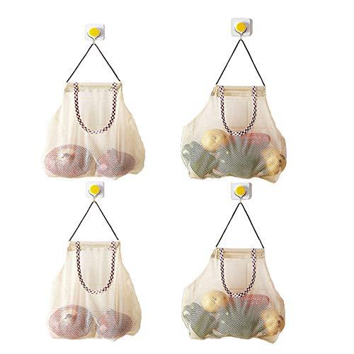 Hatisan-Pro 4 Stück Vielseitige Aufhängen Mesh Tasche/Obst und Gemüsebeutel, Durable Aufbewahrungsbeutel Atmungsaktive Lagerung Mesh Taschen für Knoblauch Kartoffeln